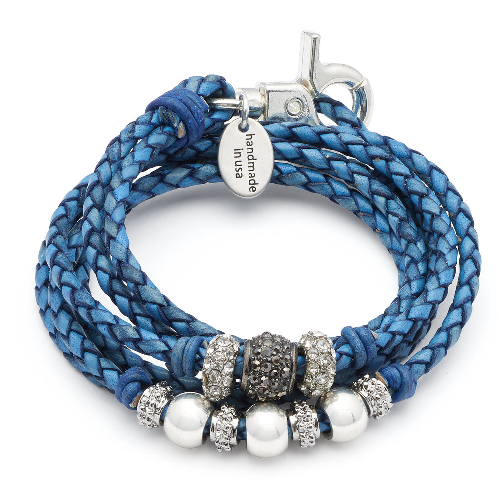 The  Soho  is a 2 strand braided leather wrap bracelet that can also be worn as a necklace.