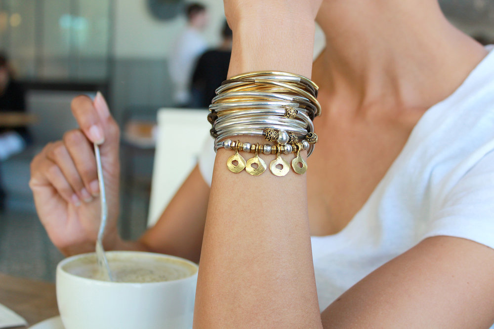 Margo  wrap bracelet layered with  Lizzy Classic  wrap bracelet in Gold & Silver.
