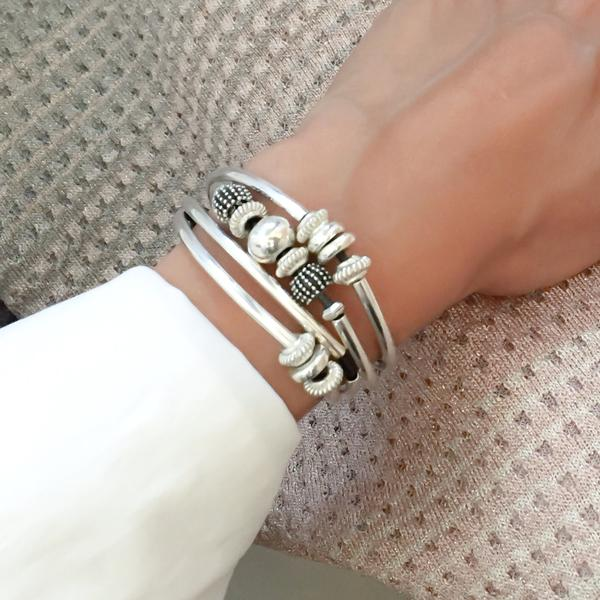 Mini Ginger  leather wrap bracelet, shown in silverplate.