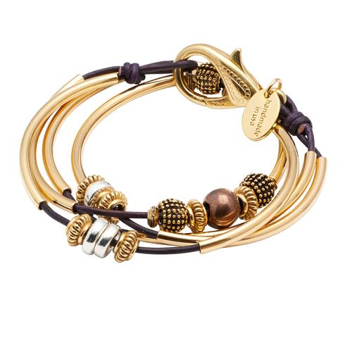 Mini Ginger  Goldplate 2 strand leather wrap bracelet shown in gloss purple leather.