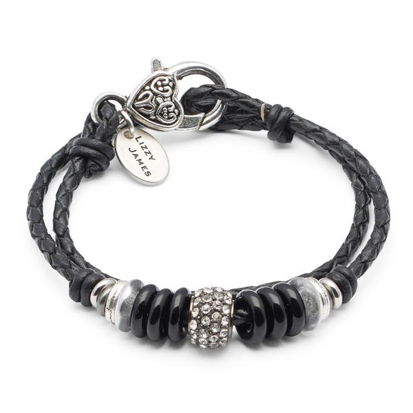 The  Mini Julie  braided leather wrap bracelet features silverplate, glass and crystal beads.