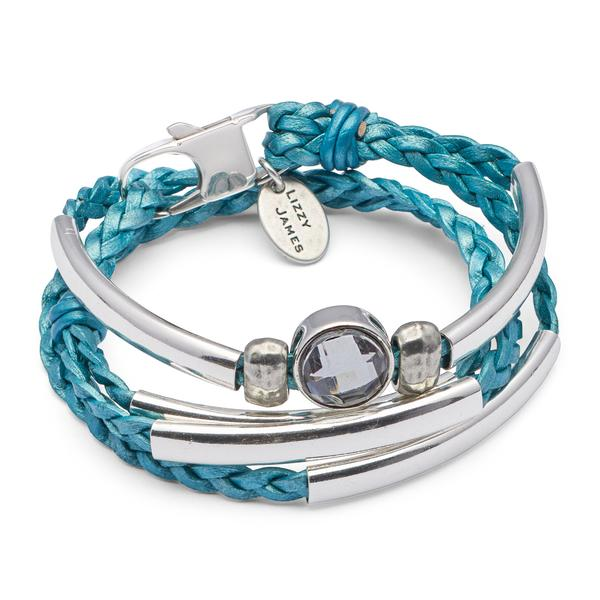 The  Mini Chloe  wrap bracelet shown in metallic teal.