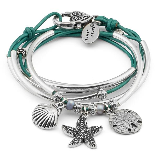 The Charmer with Beach Charm Trio  helps get you into beach mode with these popular charms attached: the  shell charm , the  starfish   charm  and the  sanddollar   charm .