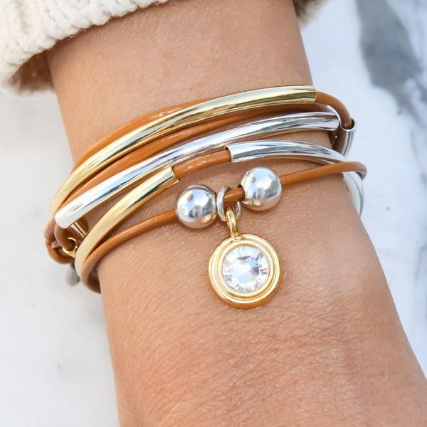 The Crystal Charm  looks great on this  Girlfriend  wrap bracelet!