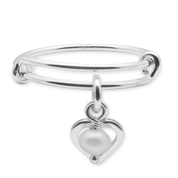 The  Darling  sterling silver ring includes a small pearl in silver heart charm.