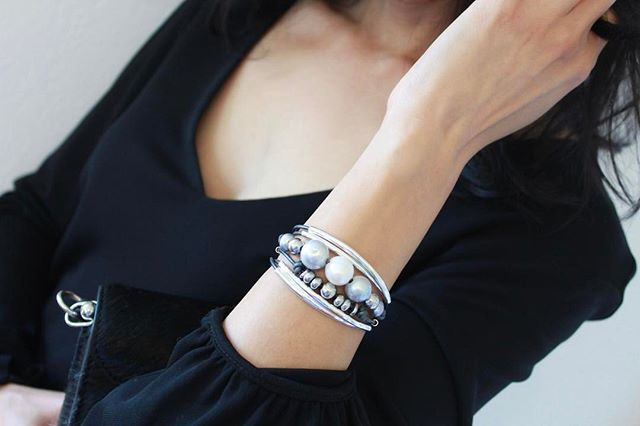 The  Maui  wrap bracelet has natural freshwater pearls and beautiful mixed metal beads.