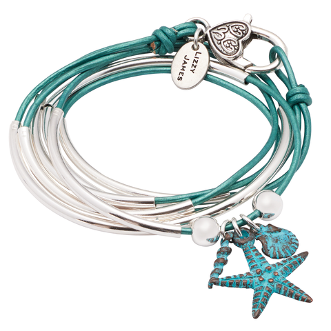 The  Girlfriend wrap  with Nautical Teal Charm Trio is perfect a mom who loves the beach.