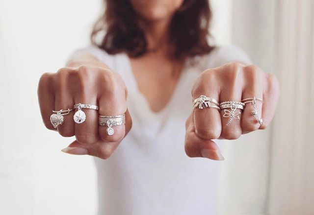 So many gorgeous sterling silver rings.