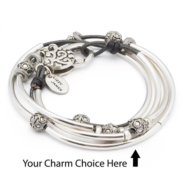 Mini June- add you charm choice shown in metallic gunmetal leather.