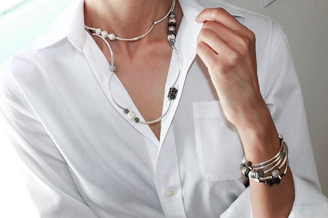 The  Emily Long  shown as bracelet and shorter double loop necklace.