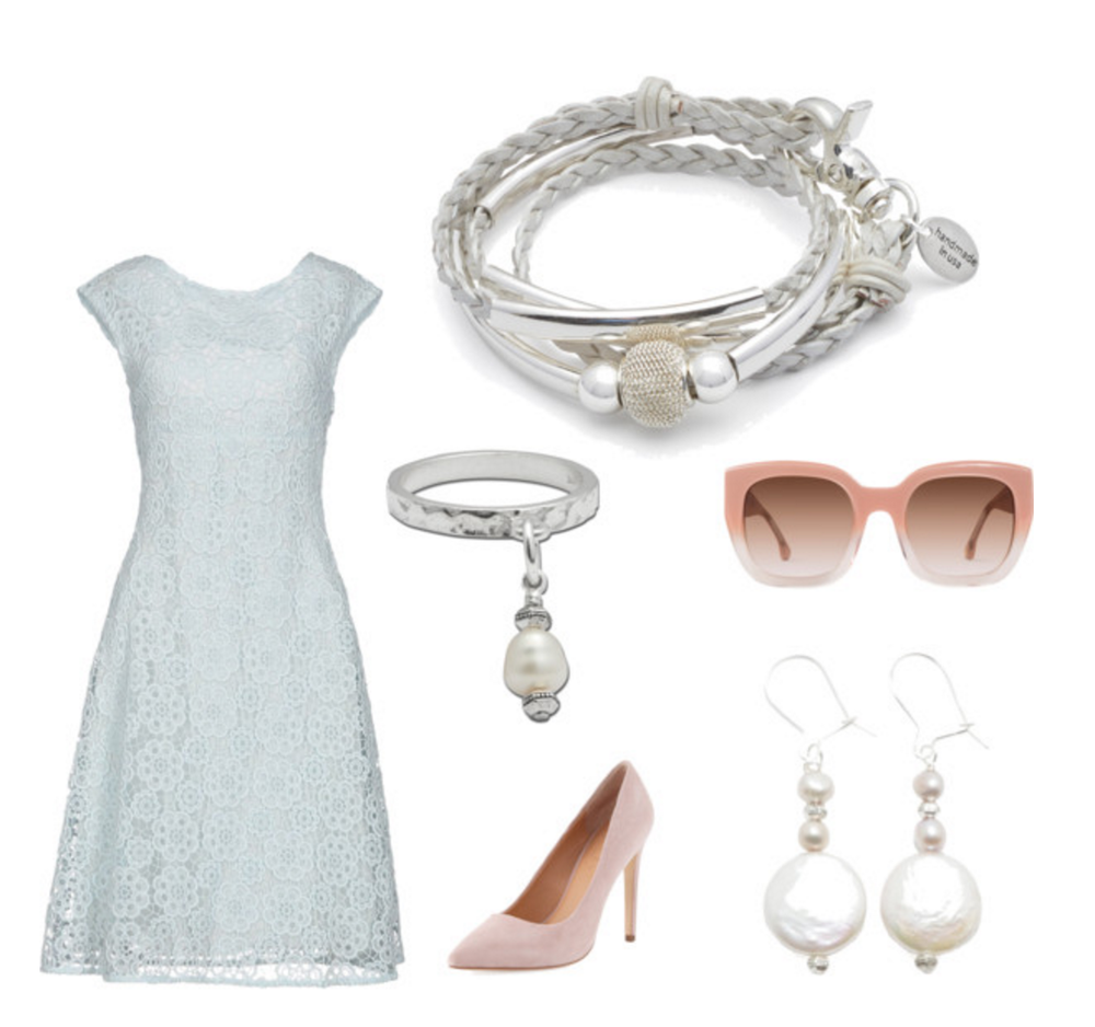 The  Mini Maddie  braided wrap bracelet pair so well with the Pearl Grey Earrings  and  Cielo Sterling Silver Ring .