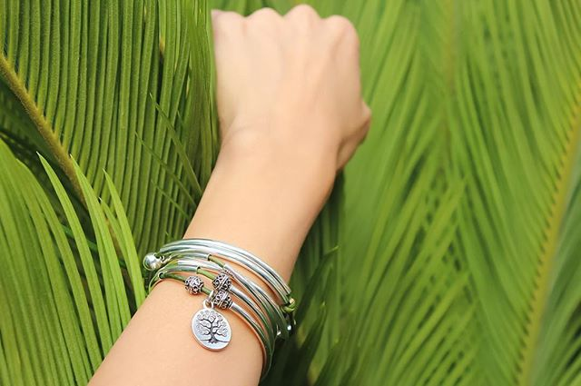 Enjoying the health benefits of plants with the  April wrap with Tree of Life Charm .
