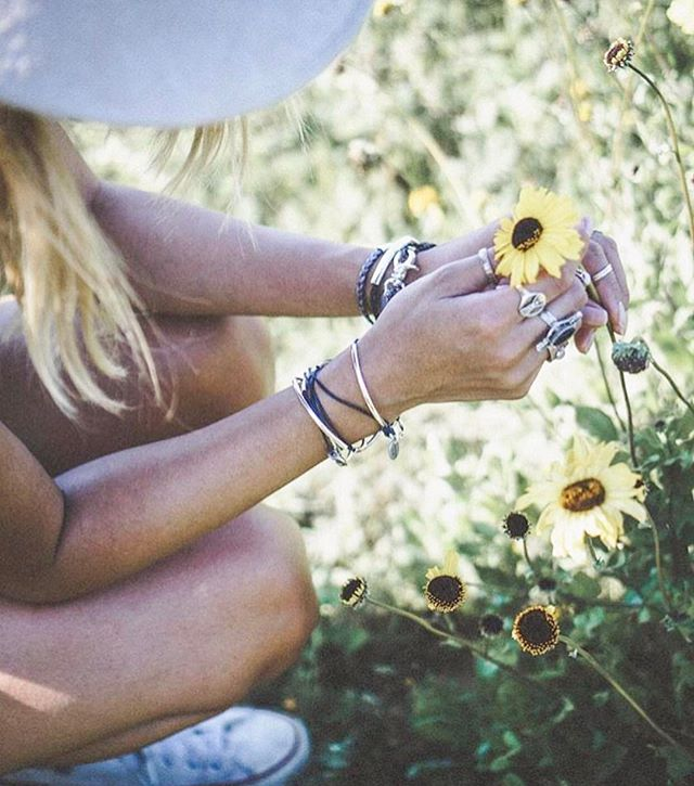 Take time to smell the flowers with  Mini Addison Silverplate  and  Aura Silverplate  wrap bracelet.