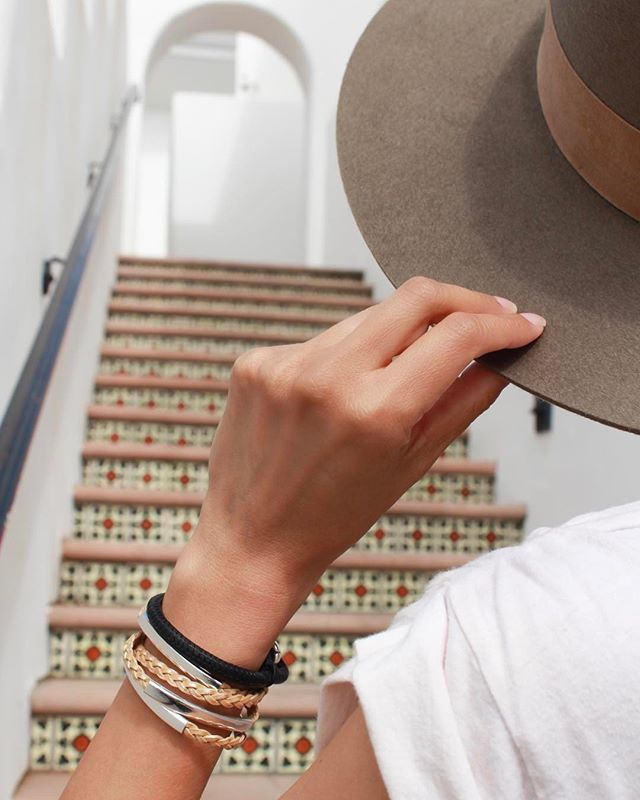 Taking the stairs with the  Diva wrap in Napa Black Leather  and  Mini Addison Braided Leather  wrap bracelets.