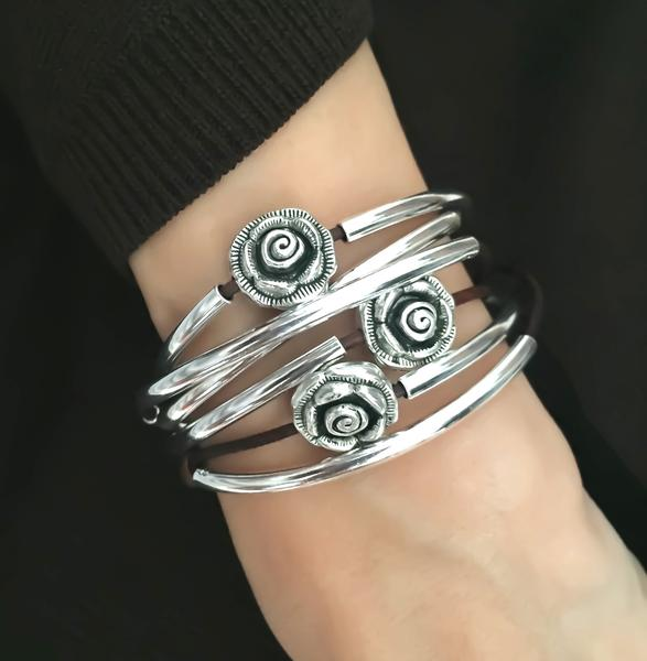 The  Rosie  wrap bracelet's beads match exactly with the  Rose Earrings .