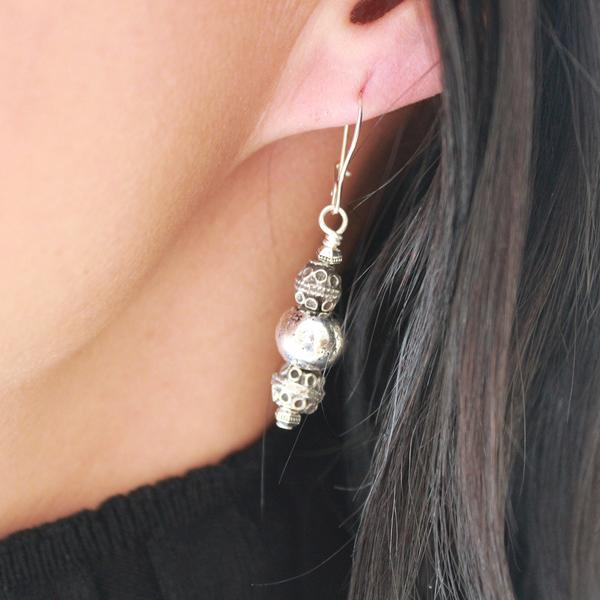 The  Royal Silver Earrings  have a unique, yet classic look.