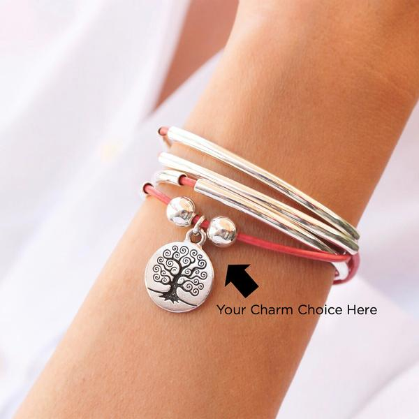 The  Mini Friendship  Silverplate wrap gives you the option to pick out your own charm, showing off the unique layers of you!