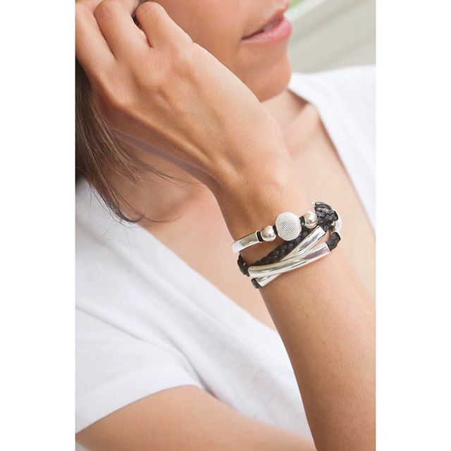 Love the contrast of the dark braided leather on the  Mini Maddie  wrap bracelet.