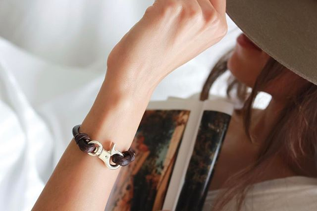 The  Devon  wrap bracelet shown in the stunning natural anitque brown.