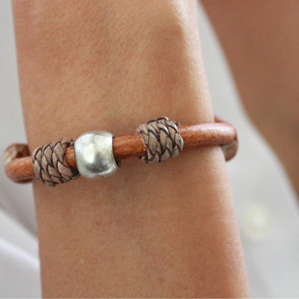 The  Dylan  wrap bracelet made in beautiful natural light brown leather.