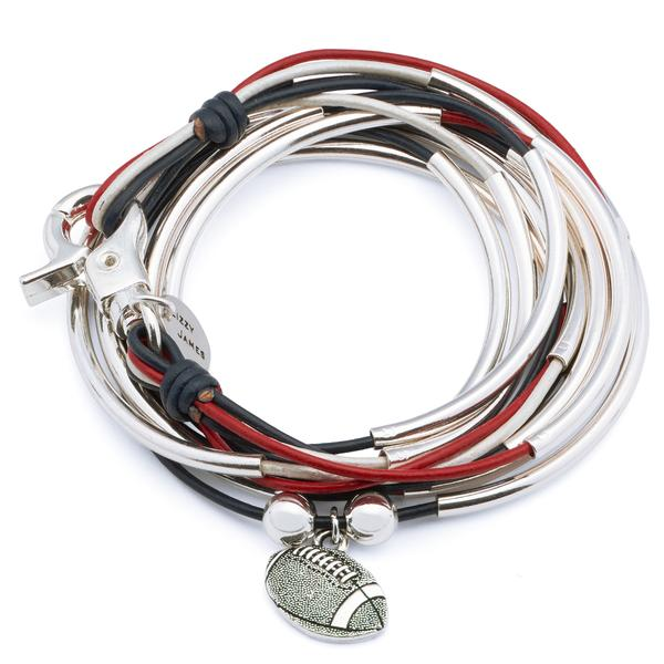 Choose your charm with the  Lizzy Classic Silverplate 4 Strand Red Blue and White Leather