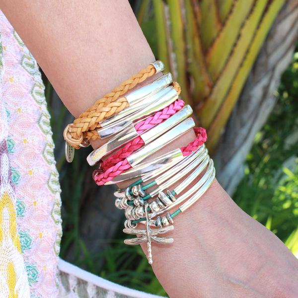 The  Dragonfly  paired with two  Mini Addison  braided wrap bracelets.