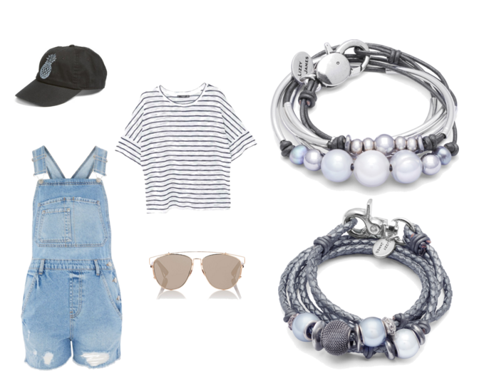 "The  Maui wrap  and  Risa wrap  with suggested outfit pieces:  Stripped T-Shirt ,  MOTO Boyfriend Short Dungaree ,  O'NEILL Bliss Womens Dad Hat ,  ""  Dior Technologic"" Sunglasses"