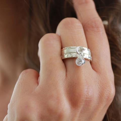 Crystal Stack Sterling Silver Ring Set  has the perfect sparkle to it and has a beatiful stacked look.