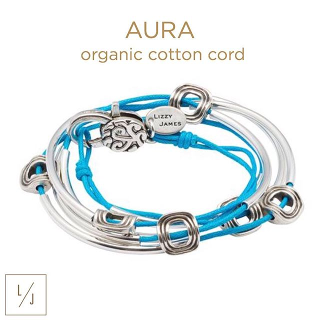 Let your aura shine bright with the  Aura Silverplate Cotton Cord  wrap bracelet, shown in turquoise cotton cord.