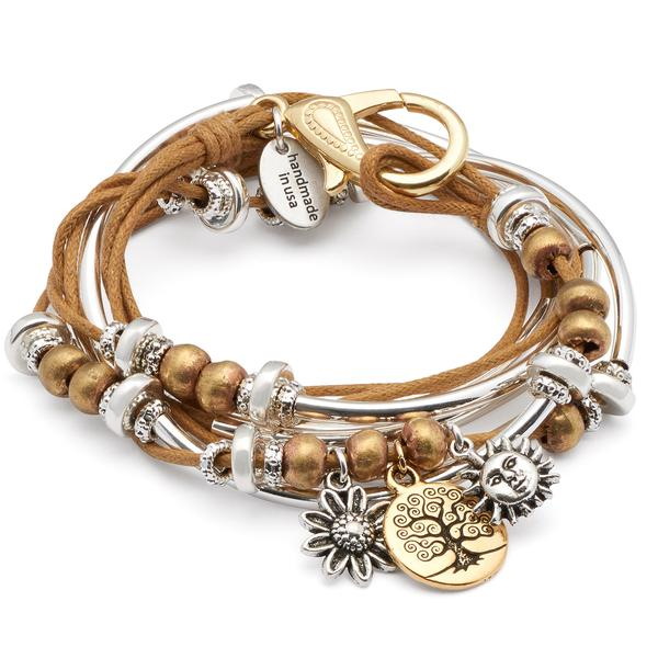 The  Boho with Gold Tree of Life Charm Trio  in golden cotton cord.