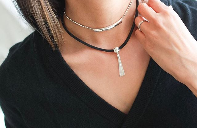Midnight Choker  and  Louise Choker  layered together beautifully.