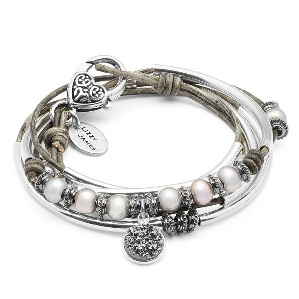 Platinum with Druzy Charm  wrap bracelet