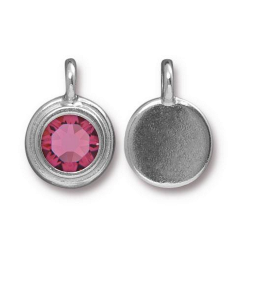 The  October Birthstone Tourmaline Pink Crystal Charm .
