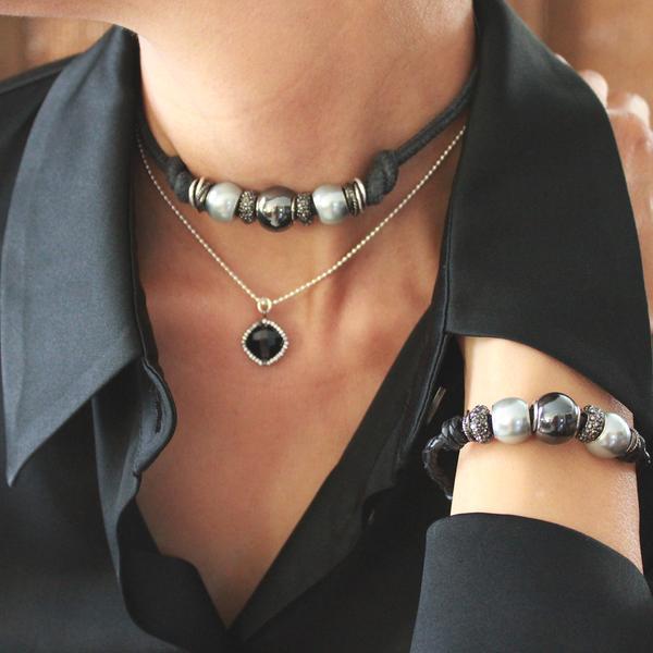 CHOKER:  Pamela Choker CHAIN NECKLACE: Stunner Black Chalcedony Sterling Silver Necklace - Limited Edition WRAP BRACELET:  Marni