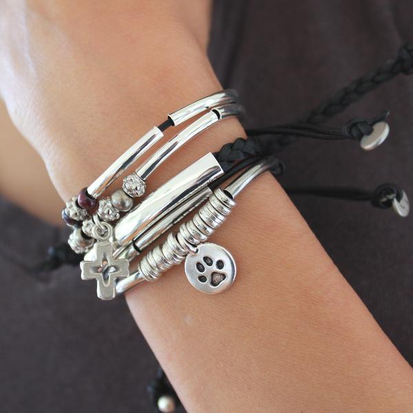 Stacked Joy Bracelet Set with Faith, Calm, and Wish Bracelets .