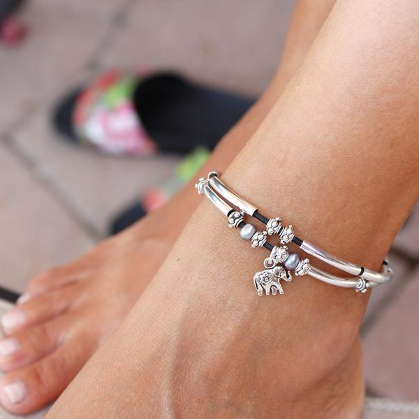 Lucy Anklet  shown with added  Elephant Charm , sold separately.