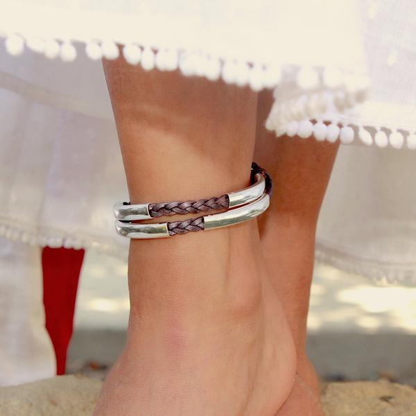 Ashley Anklet  shown in Metallic Berry leather.