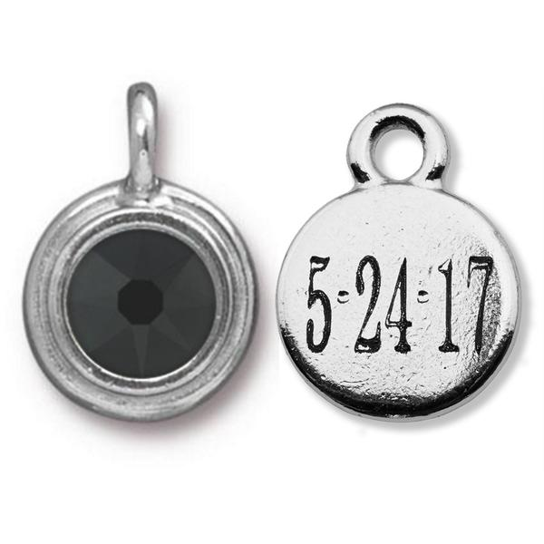 Black Crystal Charm- engravable