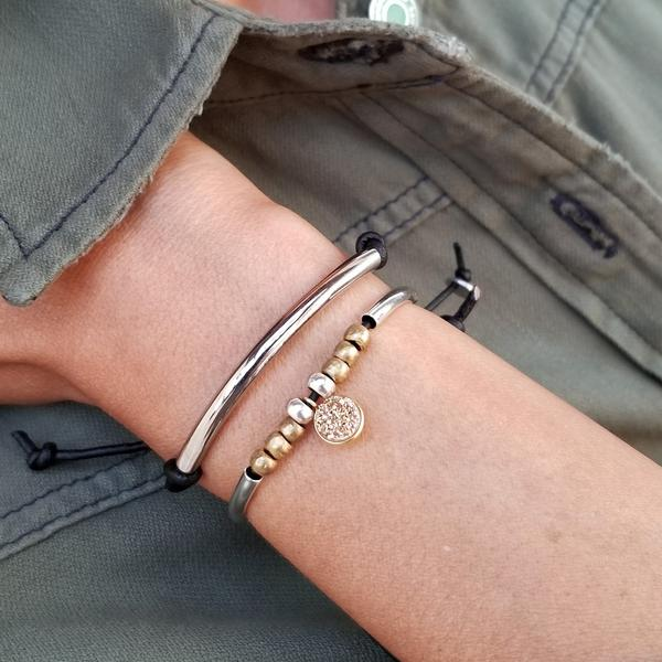 Stacked Adjustable Bracelet Set with Divine and Power Bracelets