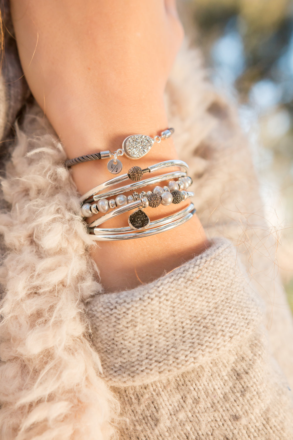 The  Suzanne  stacked with  Valentina Adjustable Bracelet