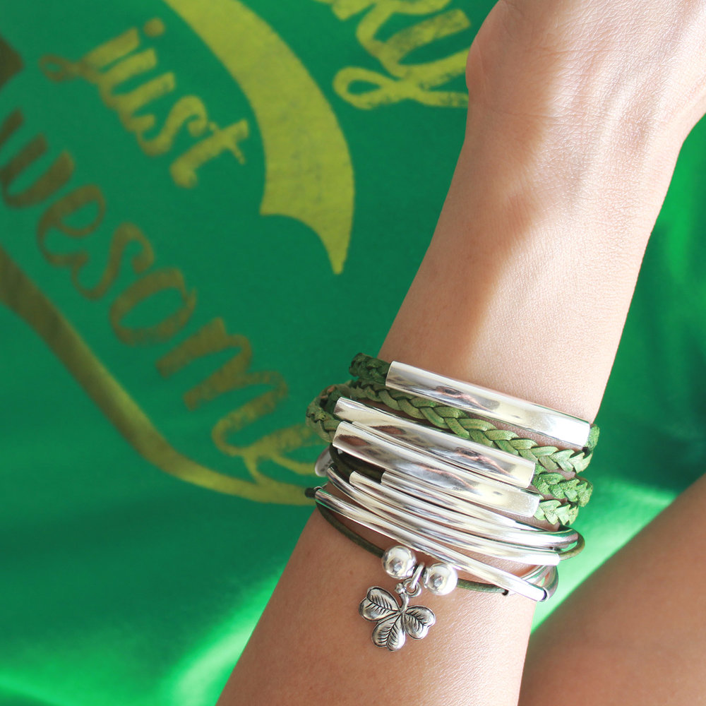 This Stack features… the  Shamrock Charm  on the  Girlfriend Wrap-Add Your Charm Choice  stacked with the  Mini Addison Bracelet In Green Leather