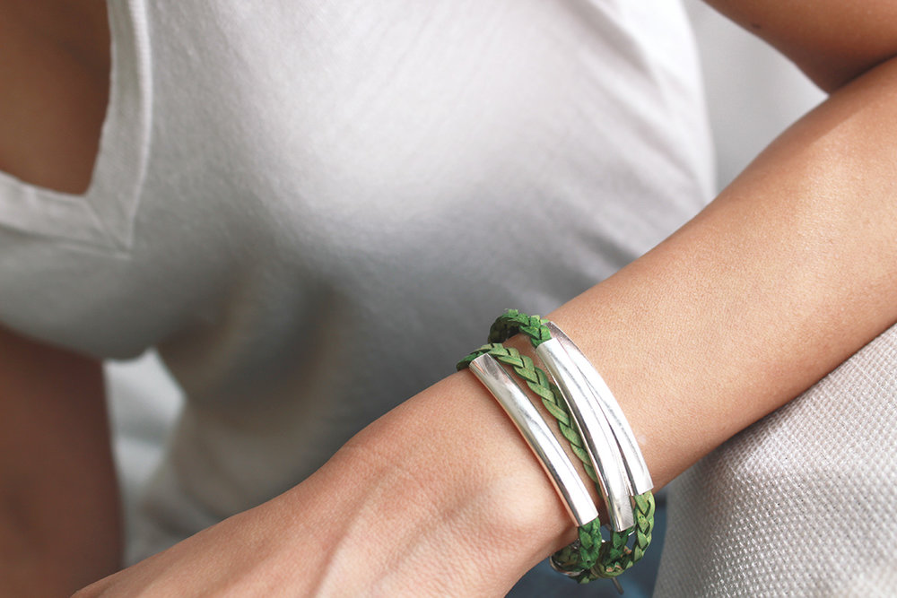 Mini Addison Bracelet In Green Leather