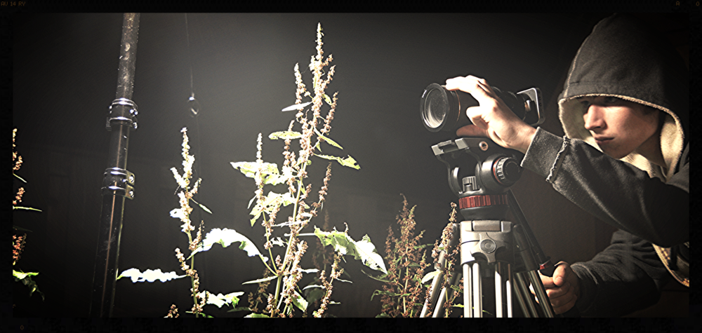 Matthew T Robinson behind the BMP Cinema Camera on set of A Sneak Peek Into Macro Nova