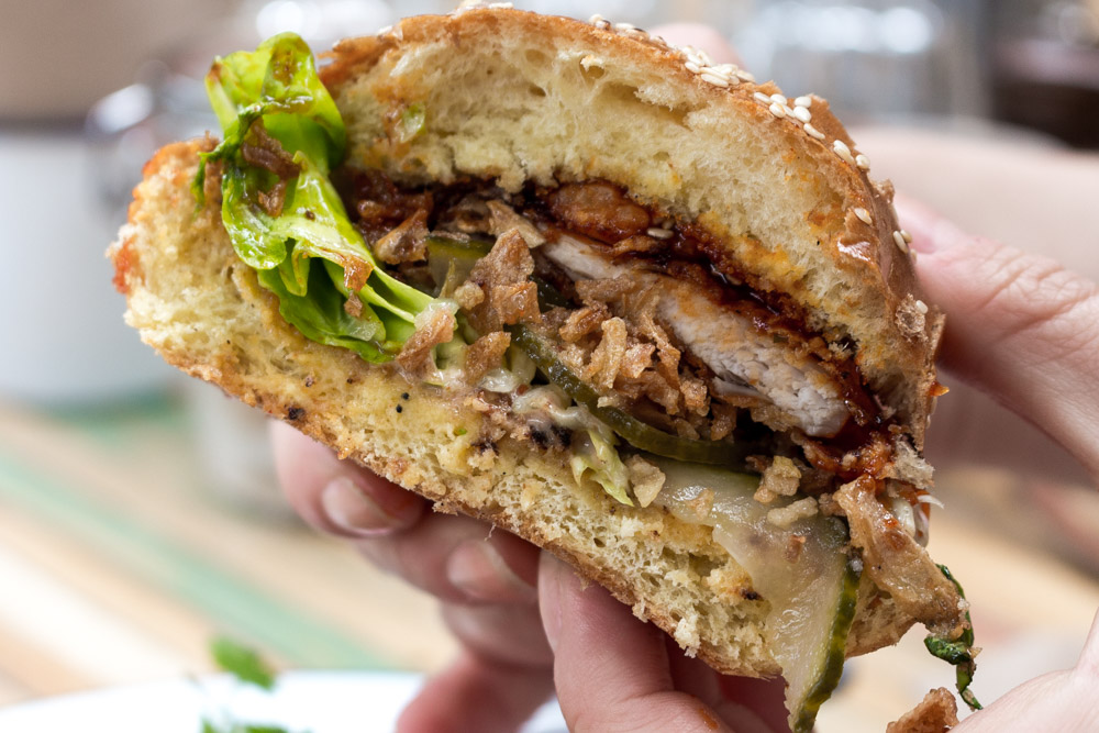 Korean fried chicken burger, Wolfhouse, Altrincham Market, Manchester