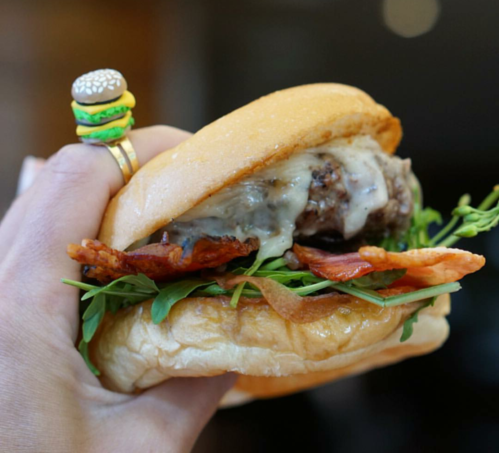 Ultimate accessorising @bianca1187 pairing a custom Burger Ring with a mouth watering burger