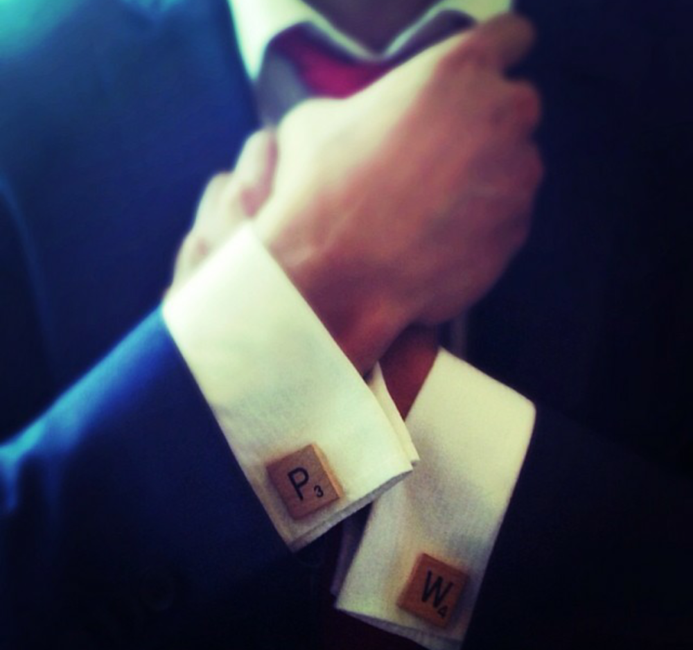 @wongtons8 with his scrabble tile cufflinks