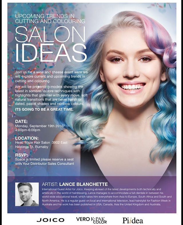 Looking forward to #salonideas with @joico in #Vancouver. Sept 19 at @headwazesalon #vancouverhair #vancouver #vancouverstylist #vancouversalon #loungehairyvr