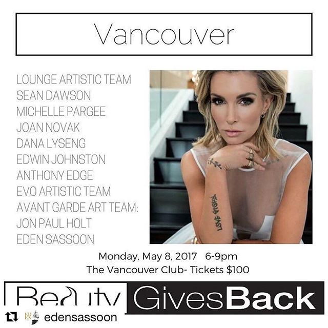 #Repost @edensassoon with @repostapp ・・・ THIS IS @beautygivesback_official for Thirst. Uniting the #beauty industry through #education & #EdenHugs ( life ) to create change with #intention.  Vancouver: May 8, 2017 6-9pm at The Vancouver Club.  Tickets $100  @jonpaulholt @seandawson1969 @michellepargee @joannovak @danalyseng_supernovasalon @edwinjohnston @electric_london @anthonyedge74 @evohair @avantgardeyaletown @martinhillierhair @lanceblanchette  Tickets can be purchased at BeautyGivesBack.care