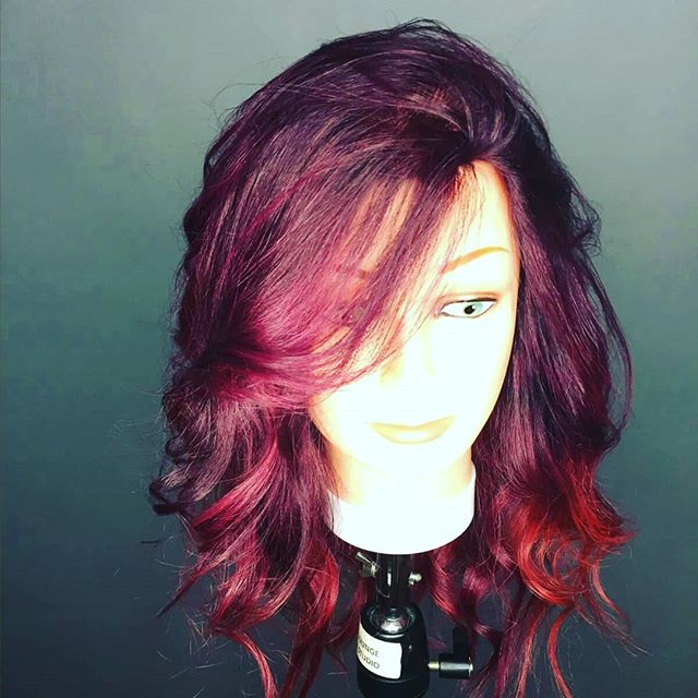 Trying a new brand colour from Italy #semi permanent #loungehairyvr #vancouverhairstylist #vancouveryvr #violet #red