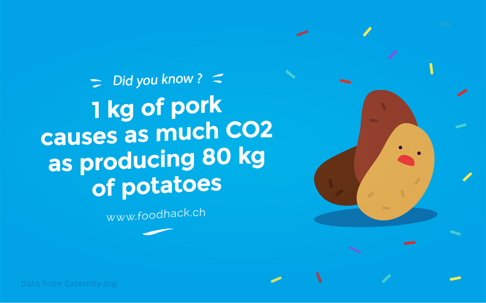 1 kg of pork causes as much Co2 as producing 80 kg of potatoes